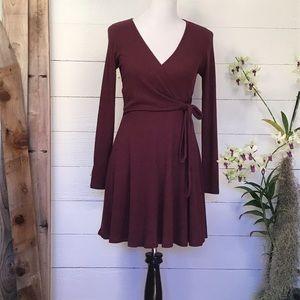 Everly V Neck Long Sleeve Wrap Dress